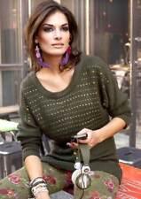 A-889# NEU! Pullover m. Nieten, oliv, Gr. 42, Aniston