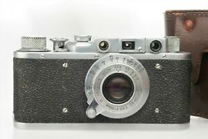 FED + 50mm 1:3,5  Industar 22 Lens + Cap +  Leather Case, fully working ! NICE +