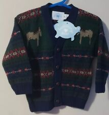 Hartstrings Baby Boys' Printed Long Sleeve Cardigan Sweater Size 18 M Navy Nwt