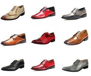 LIBERTYZENO Mens Oxford Dress Shoes Croco/Eel Print Toe Brogue Shoes-Henley