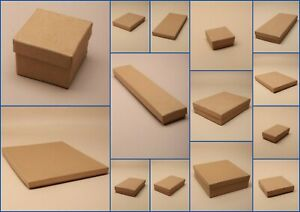 Jewellery Boxes Brown Kraft Paper Flocked Pad Gift Watches Rings pack 12