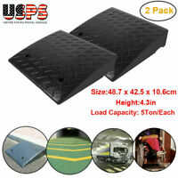 "2Pcs Height 4.3"" Load 5 Ton Heavy Duty Rubber Curb Ramp Black USA FAST SHIPPING"