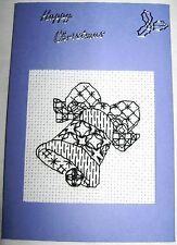 Christmas Card Completed Cross Stitch Blackwork Bell