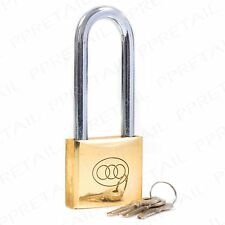 Tri Circle 50 x 125mm Long Shackle Brass Padlock Outdoor Gate/Shed Security Lock
