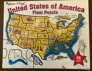 """Jigsaw puzzle """"United States"""" floor puzzle 48 jumbo pieces lists state capitols"""