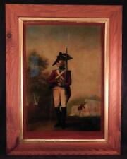 Antique Reverse Painting on Glass~Henry Bunbury~British Red Coat~Military