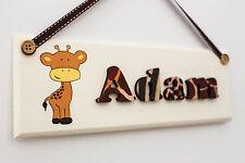 Children's wooden jungle themed door sign / name plaque: giraffe