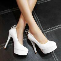 Women's Fashion Platform Stiletto Lace Up High Heels Party Causal Wedding Shoes