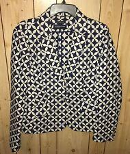Jones New York Women's Size14 Blazer Blue White Floral Signature Stretch Jacket