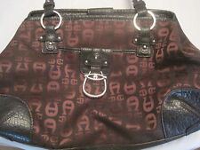 @~Etienne Aigner Signature Logo Cloth - Leather Large Purse/Handbag~Brown~LBDLG