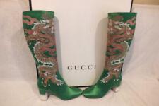 NIB AUTH GUCCI GREEN SATIN HEEL TALL Embroidered Dragon  BOOTS  size IT 41 11 US