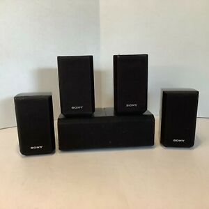 Sony Surround Sound Speakers SS-MSP2 SS-CNP2 Set Of 5 Tested Working - Black