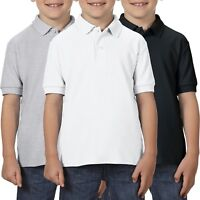 3 Pack Childrens Fruit of the Loom 65/35 POLO School Uniform PE Shirt Boys Girls
