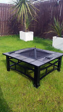 Garden Firepit Patio Heater Stove Square Brazier Table summer Tile Large Black