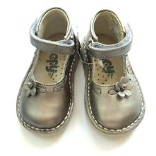 Baby girl US 3 EURO 19 silver leather ankle Mary Jane stitchdown rubber sole