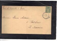 Lettre Cover 1888  ile maurice 5 c Sage  Mauritus Port louis voie suez marseille