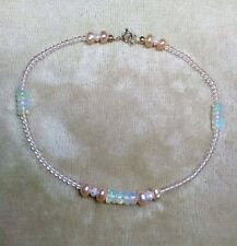Pearl and Red Cherry  00006000 Quartz Anklet 9k 9ct Solid Gold - Opal -