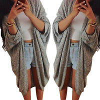 Stylish Lady Casual Knit Bat Sleeve Sweater Lady Loose Coat Cardigan Jacket Coat
