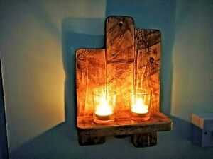 RUSTIC RECLAIMED PALLET WOOD  WALL SCONCE / CANDLE  HOLDER / TEA LIGHT