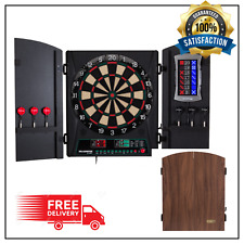 Electronic Dart Board Cabinet Soft Tip Darts with Wood Finish