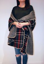 Women's Double Faced Pattern Winter Shawls Wraps ( Check and Herringbone)