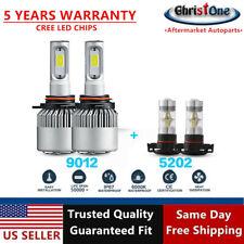 (4-Pcs Set) 2 X 9012 H1R2 LED Headlights + 2 X 5202 H16 Fog Lights Bulbs