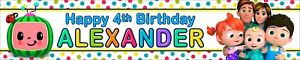 2 x Personalised Birthday Banners Cocomelon Photo Option
