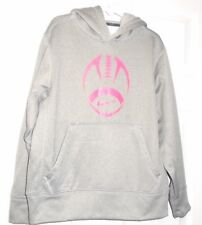 """Nike Youth Gray Hoodie Pink Football """"Breast Cancer Awareness""""Size Small (8) NEW"""