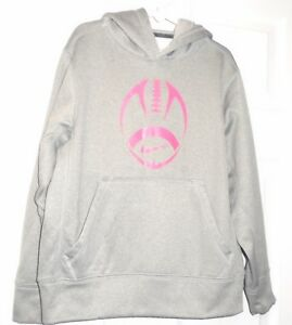 Nike Youth Hoodie Gray Pullover Size 8 / Small  w/ Pink Football Outline NEW