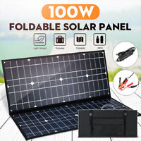 100W 18V Foldable Mono Solar Panel 12V Battery Charge & Controller Kit Outdoor
