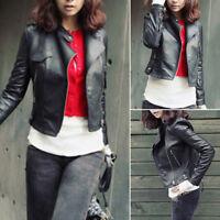 Women Slim Biker Motorcycle PU Soft Leather Zipper tops Jacket fashion Coat