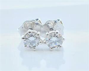 Brillant Diamant Ohrstecker 750 Weißgold 18Kt Gold  0,42 ct F/IF