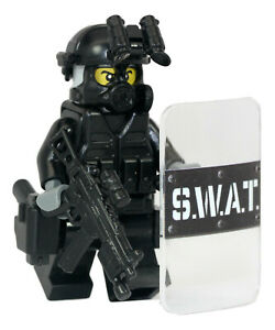 SWAT Pointman Police Officer Minifigure ClearShield made with real LEGO(R) parts