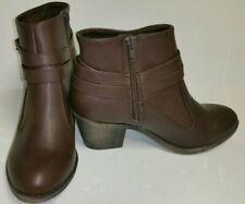 NEW Rocket Dog Womens Brown Ankle Boots Booties Size 8.5 Buckle Accent Zip Sides