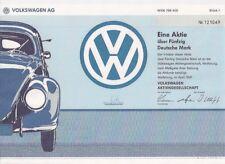 Volkswagen AG Wolfsburg histor. DM Aktie 1991 VW Käfer Emden Kassel Braunschweig