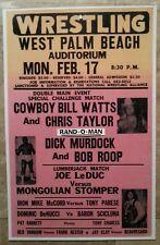 Vintage Wrestling Poster Bill Watts/Chris Taylor vs Dick Murdock/Bob Roop