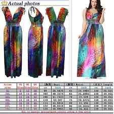 Colorful Women Summer Oversize Boho Long Maxi Beach Dresses Sundress Plus Size