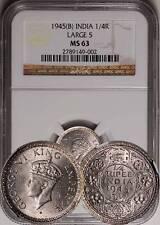 British India 1945 Large 5 Quarter 1/4 Rupee NGC MS-63 - RARE!