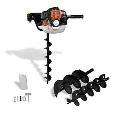 52cc Petrol Earth Auger Digger Type Post Hole Borer Ground Drill With 3 Bits UK