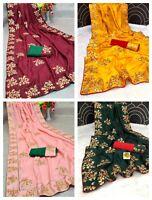 Beautiful Dola Silk Saree Indian Designer Ethnic Bollywood Wedding Wear Sari