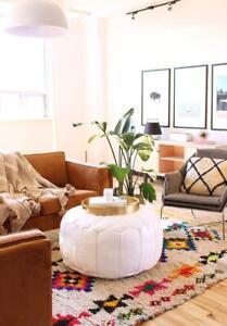 SALE! Moroccan Genuine Leather Boho Pouf Ottoman Footstool Pouffe white