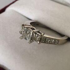 3 STONE PRINCESS CUT DIAMOND RING W/ ACCENTS 1ct TW 14K white gold size 4.5