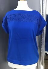 Monsoon Size 8 Royal Blue Cap Sleeve Top  Lace Patten  Smart Casual Oversized