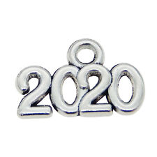 """200pcs Vintage Silver """"2020"""" Words Alloy Pendants Charms DIY Jewelry Accessories"""