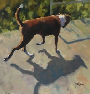 'SHADOW AND HIS DOG' Original Oil Painting by Award Winning Artist ROS PSAKIS