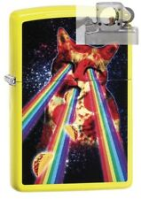 Zippo 29614 Pizza Cat Rainbow Neon Yellow Lighter with PIPE INSERT PL