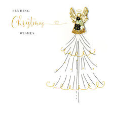 Individual Festive Angel Christmas Card Hand-Finished Beaded Cards