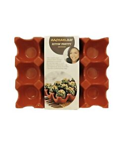 Rachael Ray RED Stoneware 12 Cup Egg Tray, New In Box