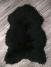 XXL Beautiful Sheepskin Rug, Soft Wool, Black, 120x70