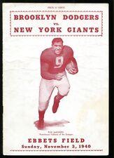 1940 NY Giants v Brooklyn Dodgers Football Program Ex Pug Manders